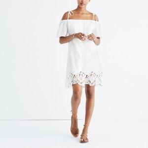 Madewell White Eyelet Cold Shoulder Dress Size L